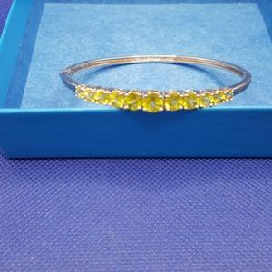 Peridot and Sterling Silver Oval Bracelet